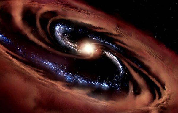 New-found galaxy survived the greedy forces of a quasar