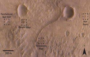 NASA-Perseverance Gezginine Ait İniş Takım Parçaları Mars Üzerinde 5km'lik Bir Alana Yayıldı