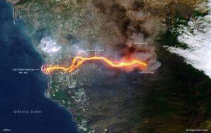 Stunning Satellite Image Shows Lava Burning a Path to the Sea From La Palma Volcano